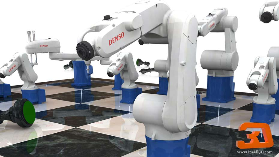 Picture showing a chessboard with Different robot arms as chess peices, beating the opponent easily, as part of a branding strategy, created by ITsALL3D