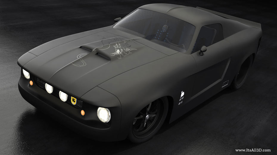 Picture showing a 3D rendering of a FORD GT500, created by ITsALL3D