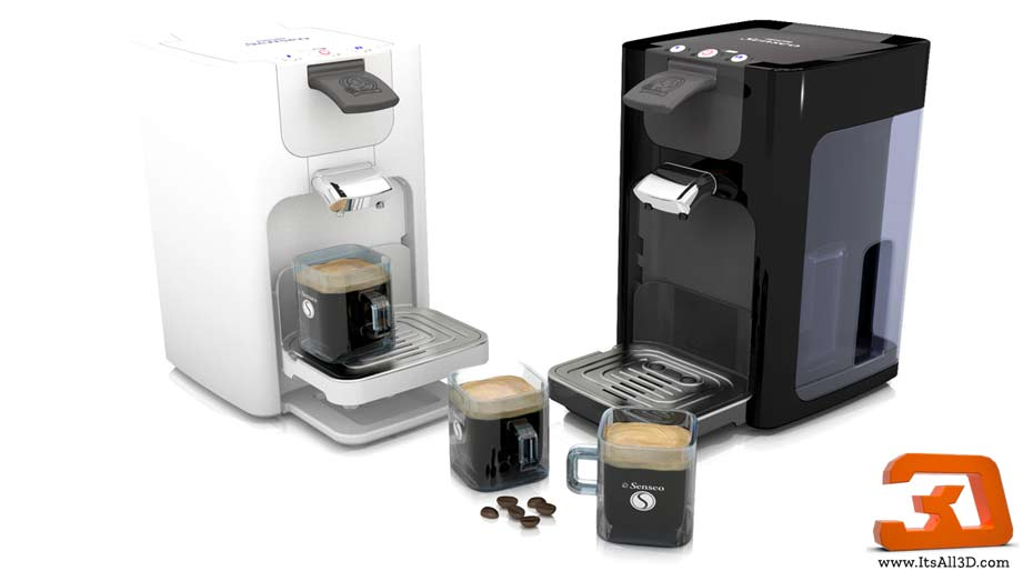 Picture showing a 3D visual of a senseo 2 coffee machine, created by ITsALL3D