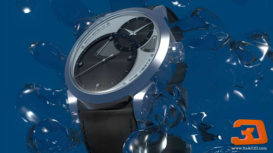 Picture showing a 3D model of a watch, with splashes of water running over it, created by ITsALL3D